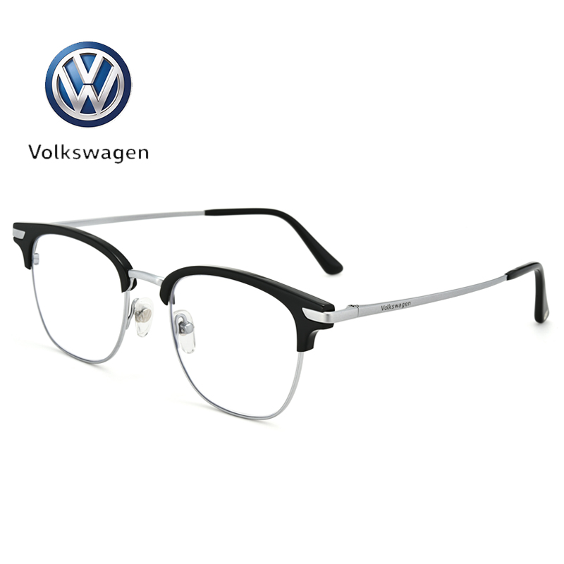 Volkswagen Volkswagen is equipped with finished myopia frame, retro half frame, artistic Pure Titanium Mens and womens full frame glasses