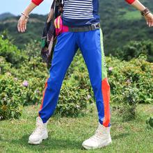 弹力运动裤 户外拼色速干裤 女长裤 弹力快干裤 小脚裤 女徒步登山夏季