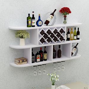 简约创意红酒柜圆角吊柜餐厅墙壁装饰架墙上酒架简约现代实木格子