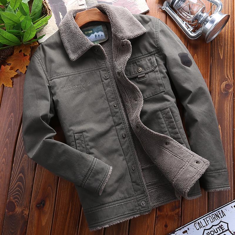 Jeep shield winter cotton padded mens Plush wool collar cotton padded jacket short Lapel coat large jacket cotton jacket