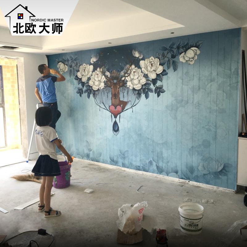 电视背景墙壁纸无纺布墙纸客厅卧室壁画无缝墙布北欧壁画蚕丝壁纸