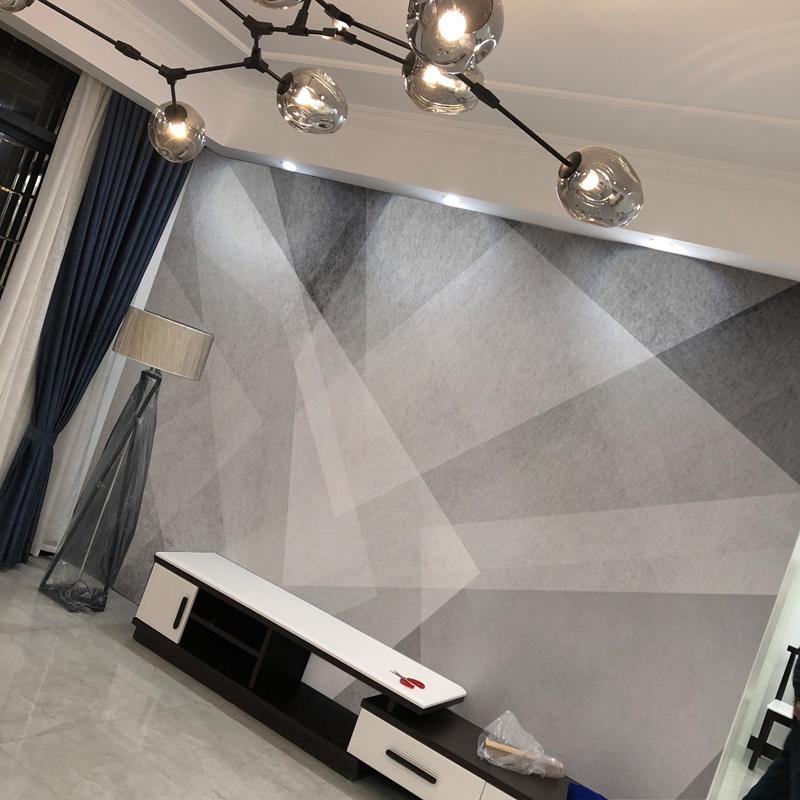 北欧电视背景墙壁纸黑白几何影视墙壁画装饰现代简约沙发无缝墙纸