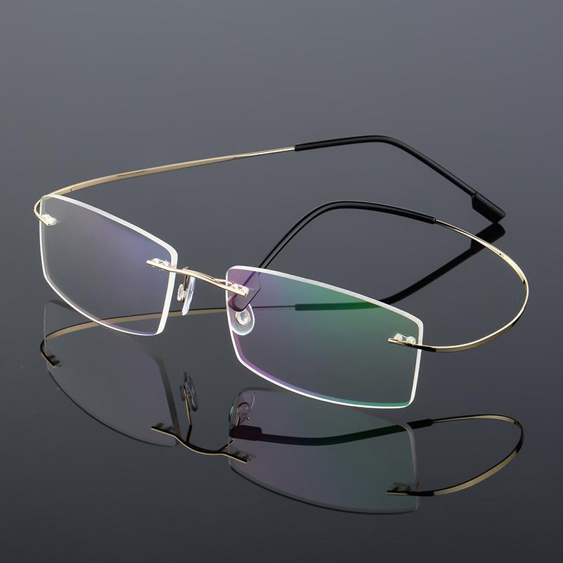 ビジネスフレームなしの近視メガネです。チタン合金の抗ブルーレイ、遠視の老花平光、男女の大中顔型です。