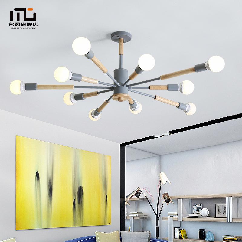 北欧风格灯具客厅灯马卡龙吊灯卧室灯餐厅灯创意个性木艺铁艺灯饰
