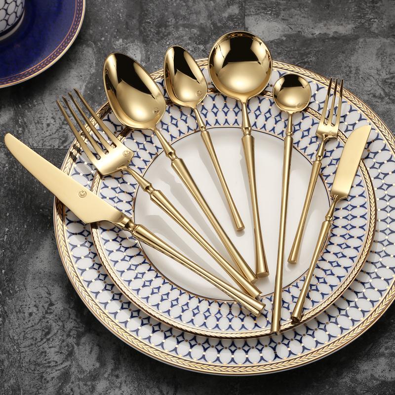 北欧 典雅金色304不锈钢西餐牛排刀叉勺三件套家用餐具刀叉套装图片