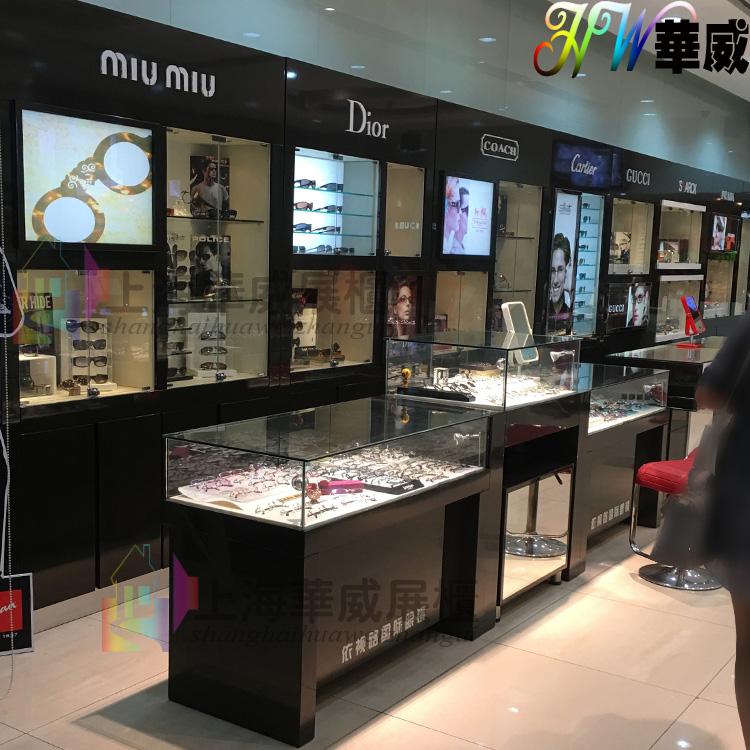 2016 новый солнце очки шоу кабинет очки магазин дисплей деревянный краски очки кабинет наручные часы шоу кабинет