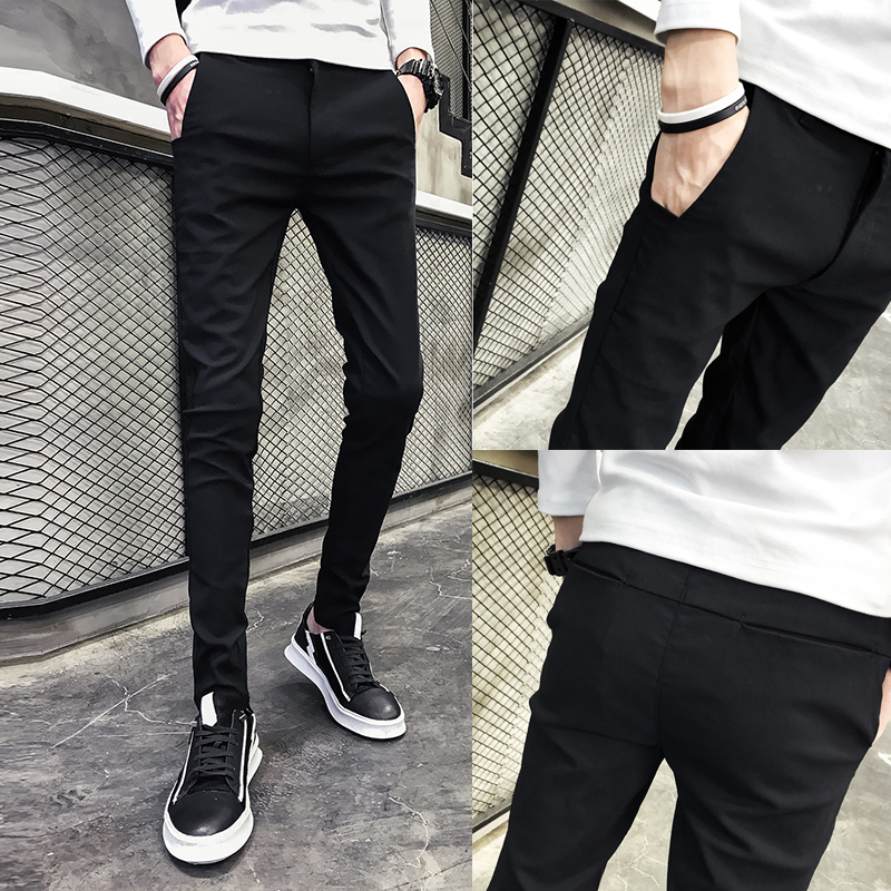 2020 New Style Mens nine point casual pants small foot tight show thin pants Korean version of slim pants