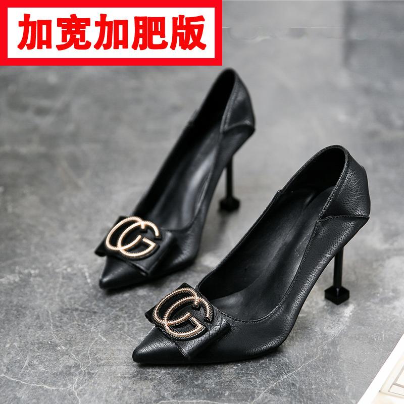 早春高跟鞋女仙女风细跟学生十八岁低跟大码女鞋胖脚宽肥潮款单鞋