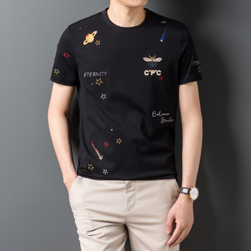 2020 summer new t-shirt mens exquisite embroidery bee and star trend star element pure cotton mens T-shirt