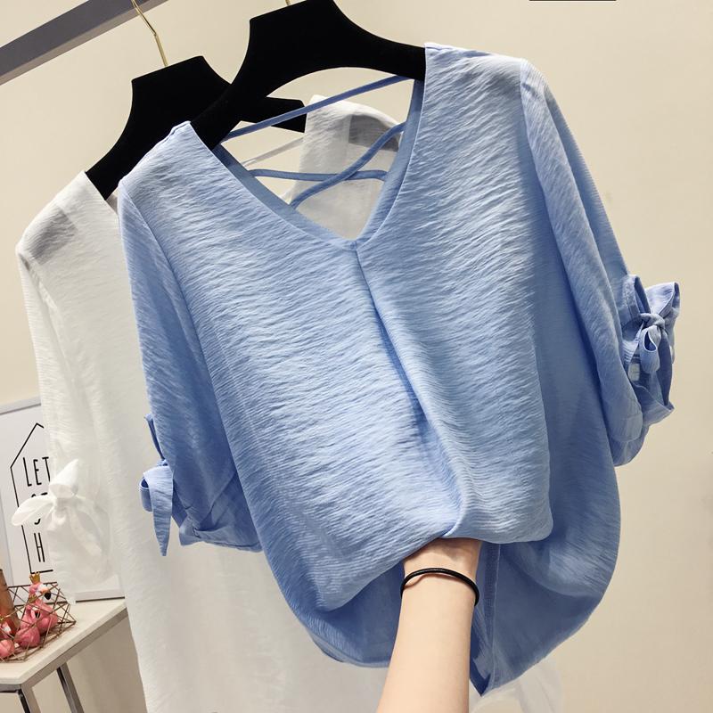 雪纺衫女短袖2018夏季新款韩版宽松气质超仙仙女V领蓝色打底上衣