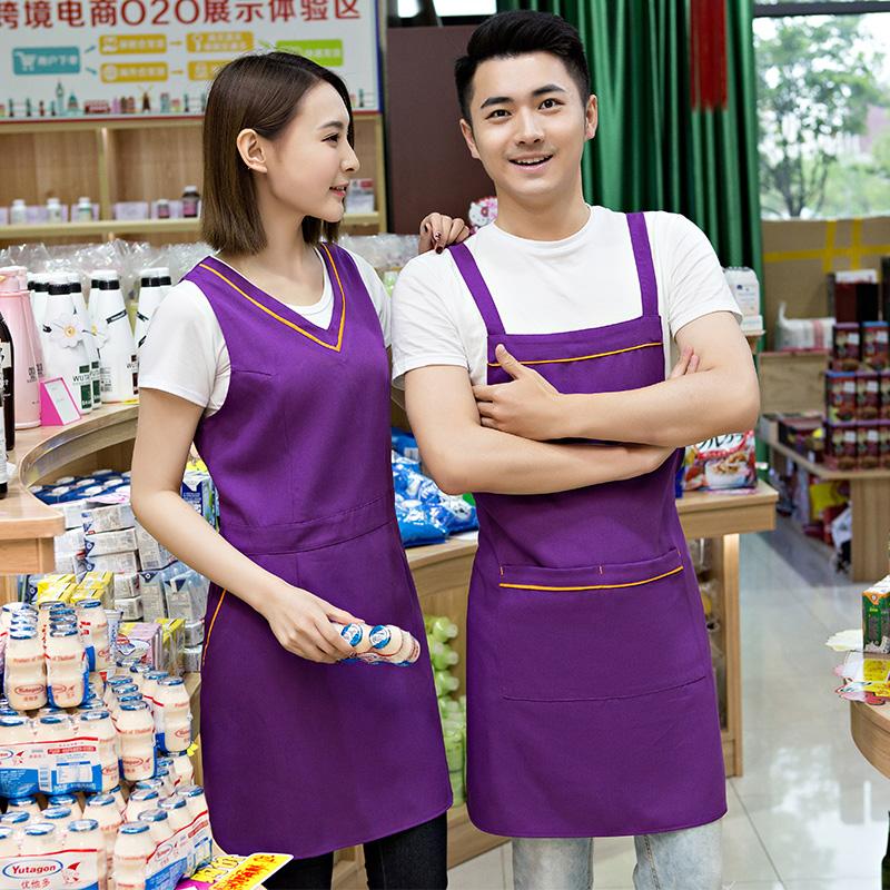 12月02日最新优惠奶茶店美容养生超市餐厅围裙定制logo印字服务员工作服背心带韩版