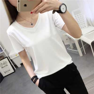 朵仙蔻韩版白色V领短袖T恤女夏季修身百搭打底衫简约纯色韩范体恤