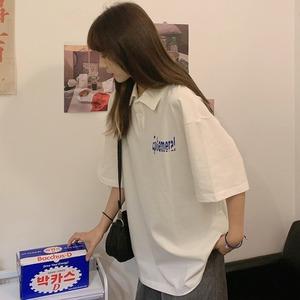 现货 新款夏装学院风前后字母印花中长款短袖t恤女6535拉架棉,女装T恤,小发家