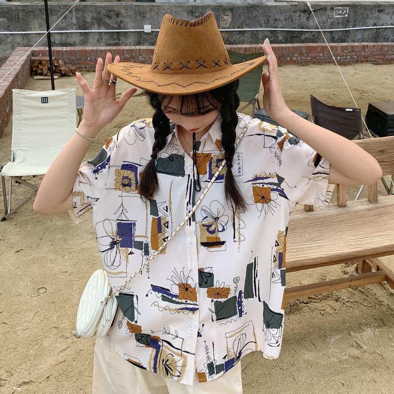 实拍现货 夏季新款百搭涂鸦印花港风短袖薄款宽松衬衫女