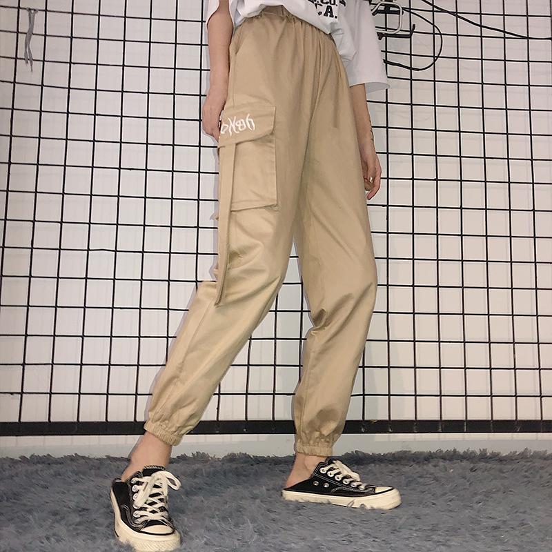 实拍现货 秋装新款韩版宽松bf束脚法式哈伦嘻哈100%纯棉工装裤女