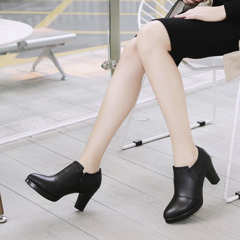 大码真皮深口单鞋女皮鞋防水台粗跟高跟工作走秀鞋模特中跟妈妈鞋