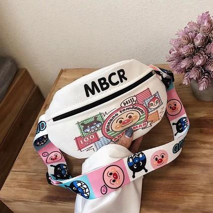 搞怪丑萌小包包女2020新款潮卡通可爱涂鸦胸包纯色简约单肩斜挎包