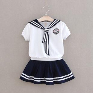 夏装 纯棉儿童演出服 幼儿园园服中小学生男女童海军风校服短袖 套装