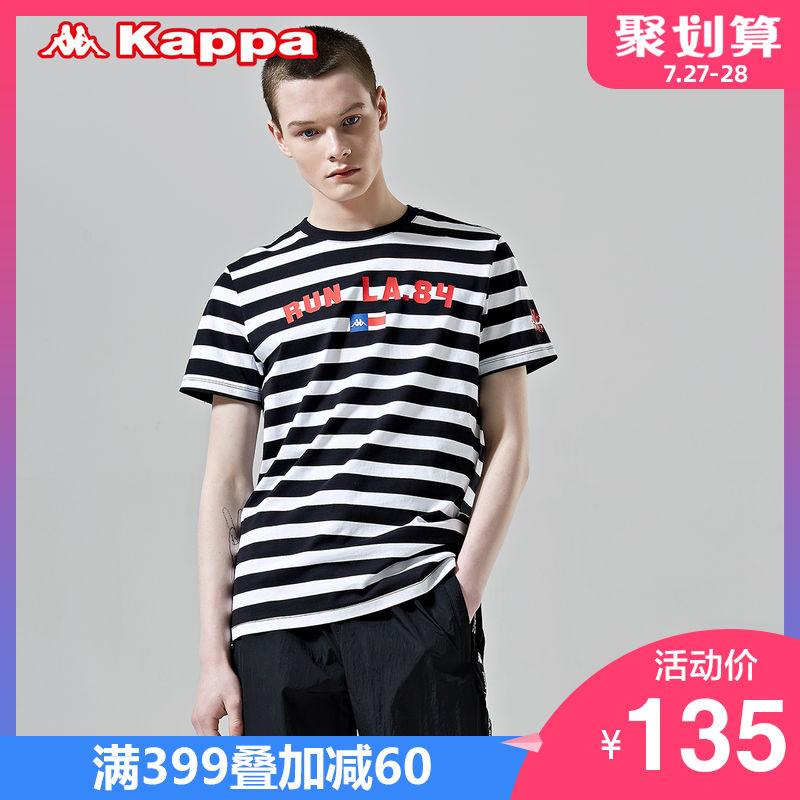 Kappa卡帕 男款运动短袖休闲T恤夏季条纹半袖 2019新款 K0912TD09