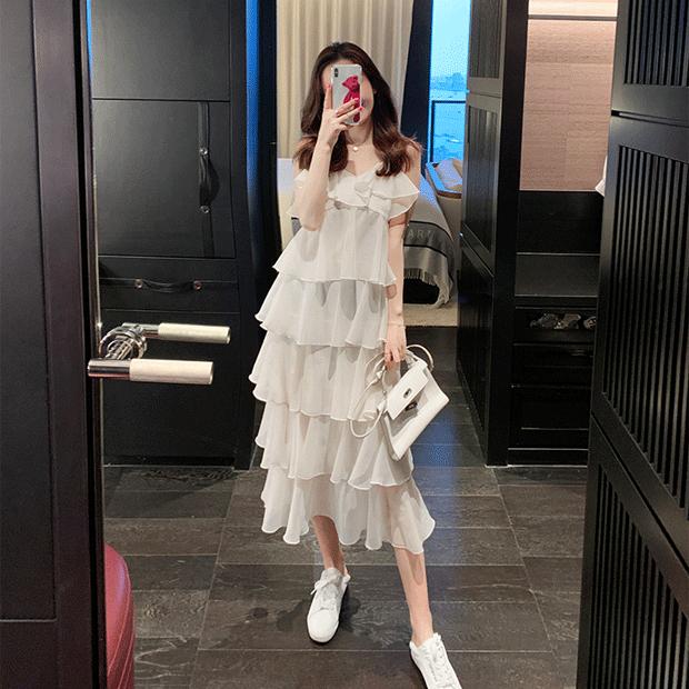 无袖高级感法式雪纺连衣裙2020夏季新款气质荷叶边吊带蛋糕裙女夏