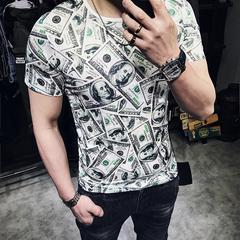 2018夏装欧美男士硬汉短袖t恤修身英伦印花半袖体恤T802-P35控49