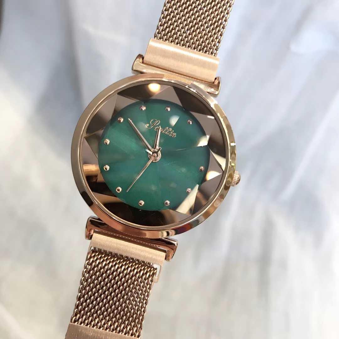 诗高迪Scottie爆款批花玻璃韩版时尚大方磁性钢带女手表多色可选