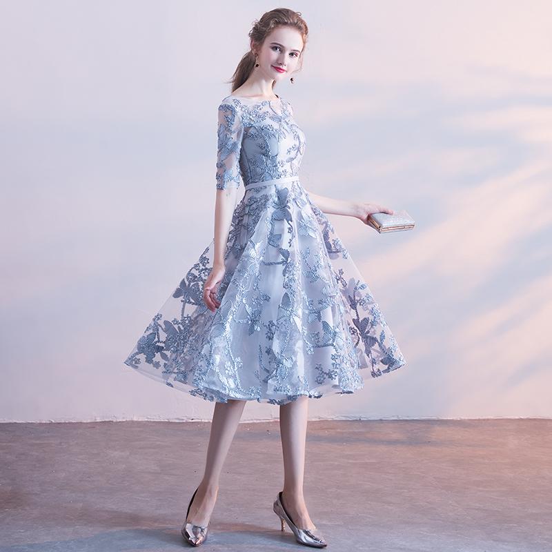 需要用券蓝灰色伴娘服2019新款秋季连衣裙小个子礼服女中长款宴会主持显瘦
