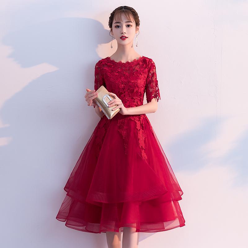 敬酒服新娘2018新款夏结婚订婚宴会红色礼服回门连衣裙中长款显瘦