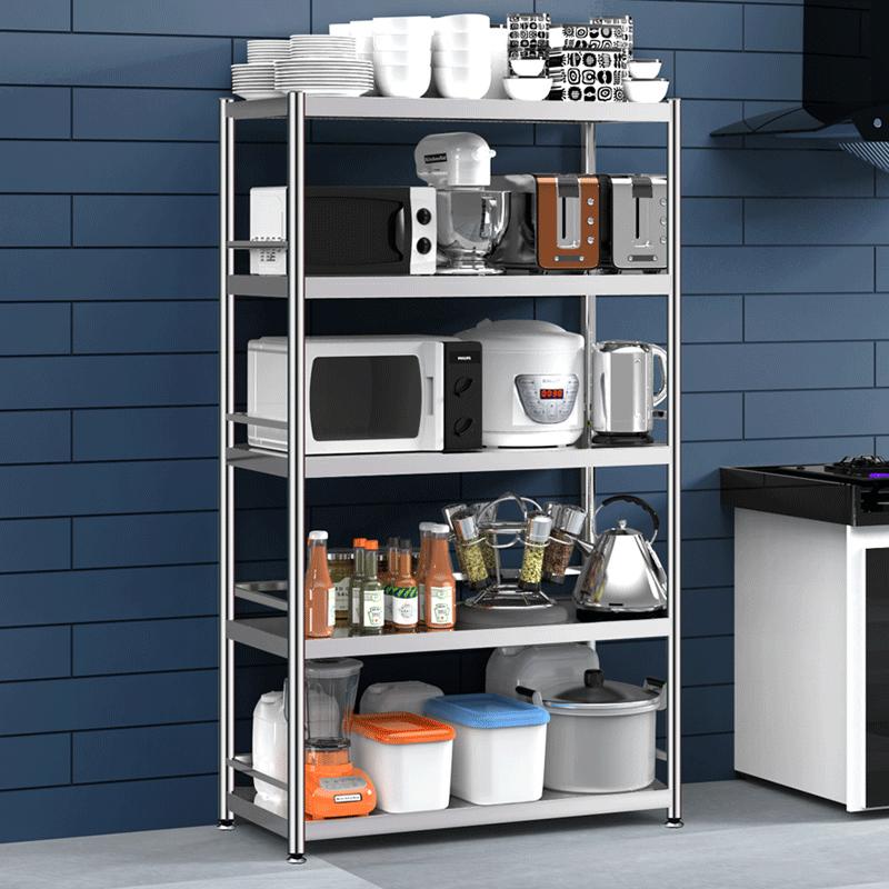 不锈钢厨房置物架落地多层家用微波炉烤箱储物架子五层六层收纳架