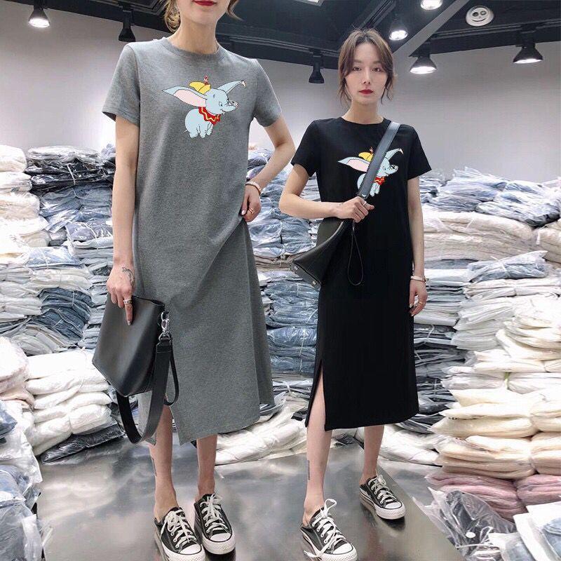 Summer wear medium length T-shirt womens split dress short sleeve loose casual over the knee bottom show slim black long skirt
