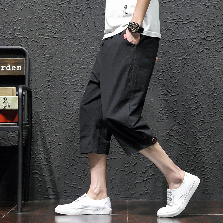 夏季日系复古七分裤男薄款收口宽松大码休闲短裤K57-P30
