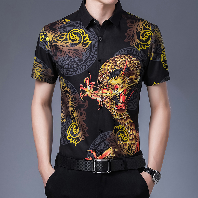 Mens Short Sleeve Shirt Chinese dragon pattern young and middle-aged printing trend shirt fathers middle-aged half sleeve summer