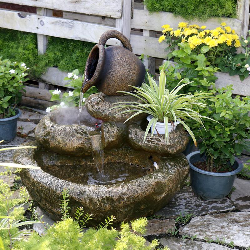 太陽エネルギーの田園の屋外のにせの山石の流水の噴水のベランダの花園の室内の装飾の景観のヨーロッパ式の養魚池