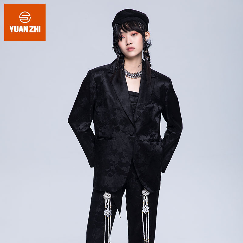 Round ︱ new Chinese style handsome jacquard boyfriend suit coat black coat autumn and winter