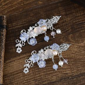 原创古装发饰步摇汉服头饰珍珠对夹超仙流苏古风饰品小清新复古女