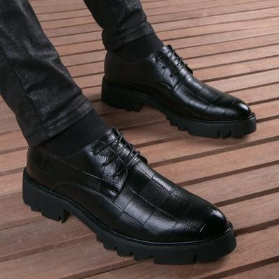 夏季皮鞋男真牛皮韩版英伦休闲黑色潮流厚底内增高软底发型师男鞋