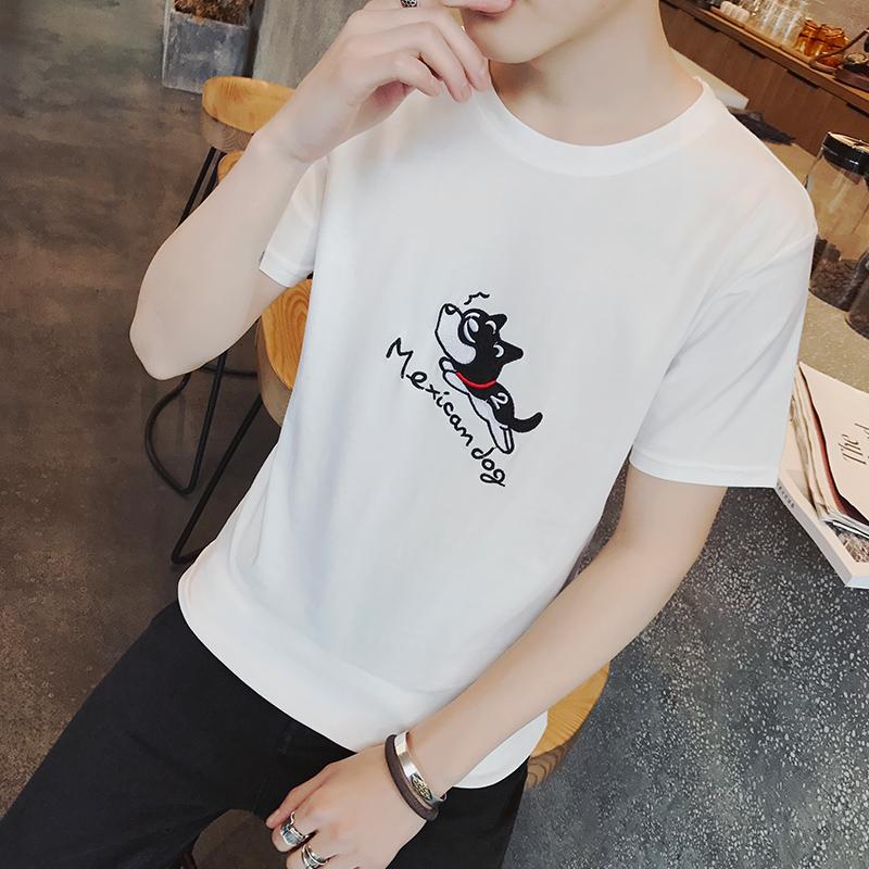 2018夏季新款男士短袖t恤韩版学生潮流修身半袖衣服男装白色圆领
