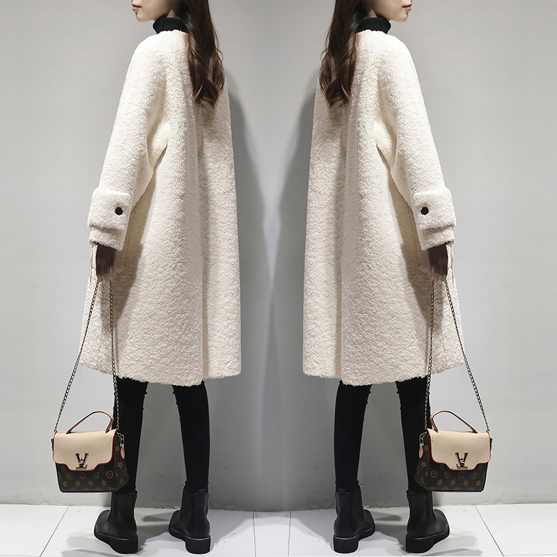 Chic lamb coat womens new loose and thickened suede fur coat in winter 2020