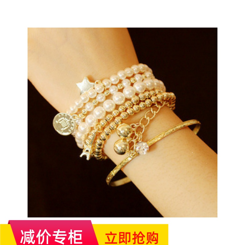 Multi element Eiffel Tower pearl retro Bracelet coin six piece set multi layer Elastic Bracelet 1001