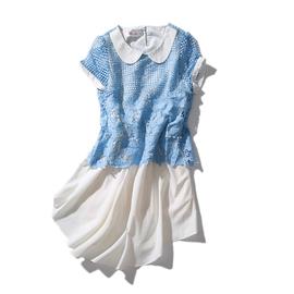 秋岛折扣女装*夏中长款蕾丝雪纺连衣裙假两件短袖娃娃领可爱少女图片