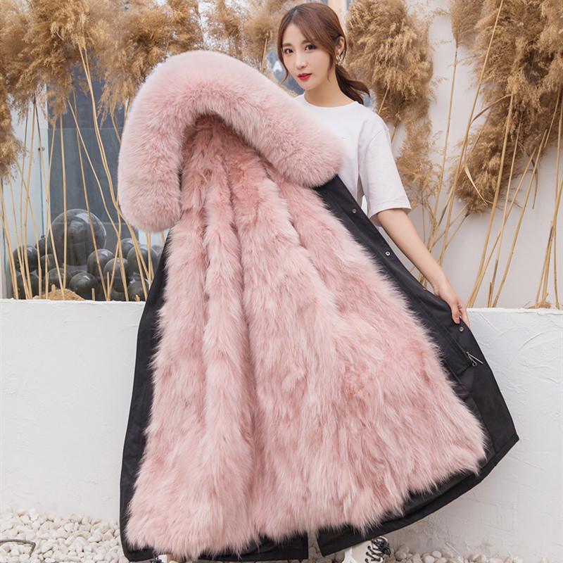 New style overcomes womens oversized fur collar detachable Haining fur coat fox fur liner womens Parka