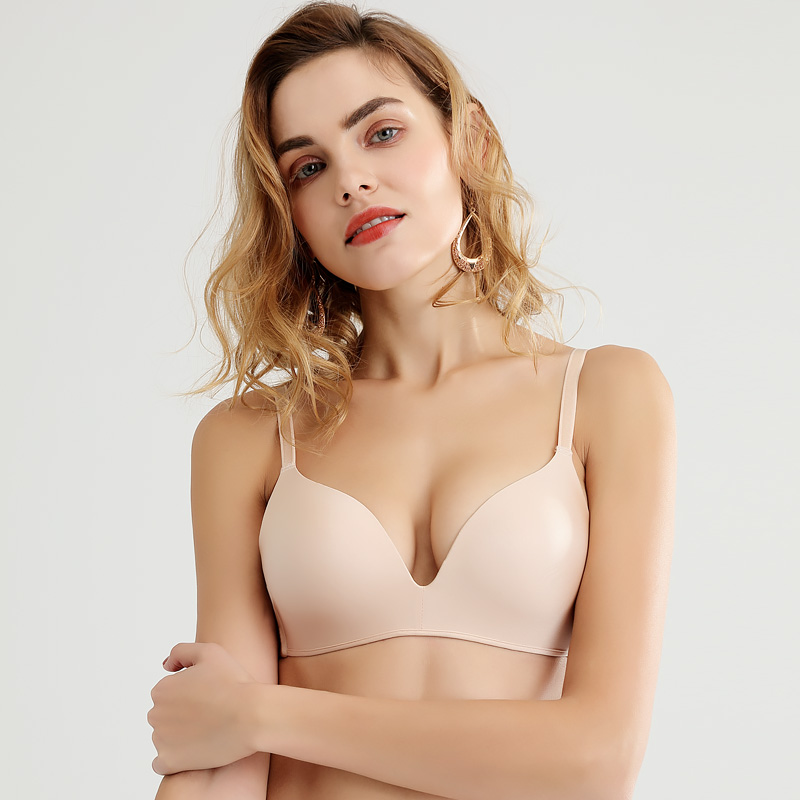 Japanese smooth seamless underwear ultra thin U-shaped collection sub breast simple comfortable rimless bra suit