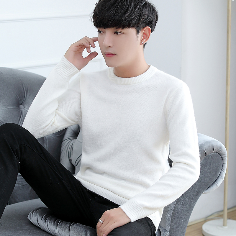 Autumn and winter new round neck sweater mens Korean long sleeve T-shirt handsome low collar sweater white tide