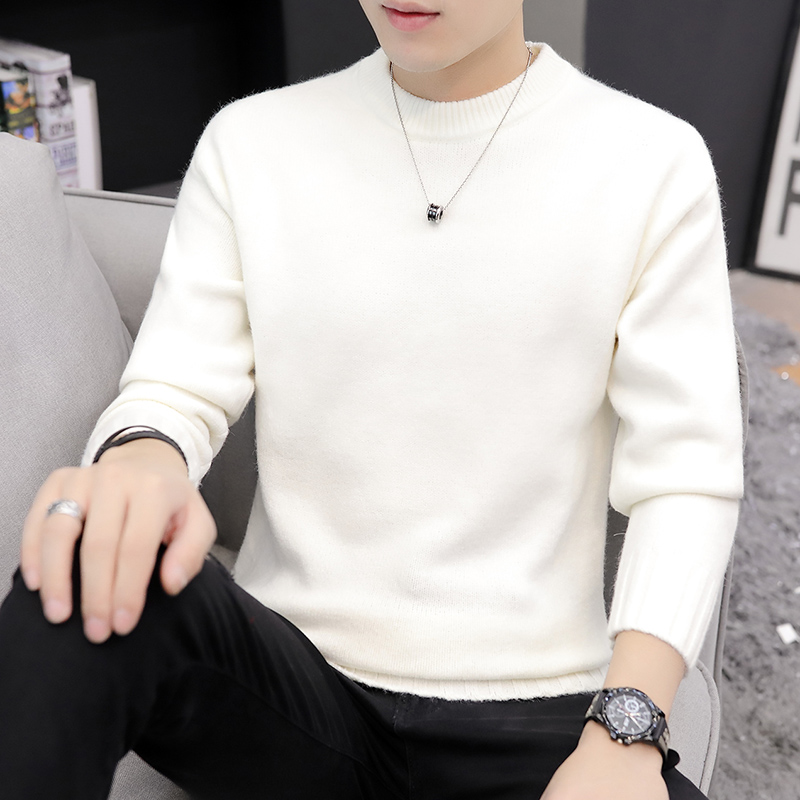 Autumn and winter sweaters mens Korean fashion low collar bottomed T-shirt thickened loose round collar red sweater