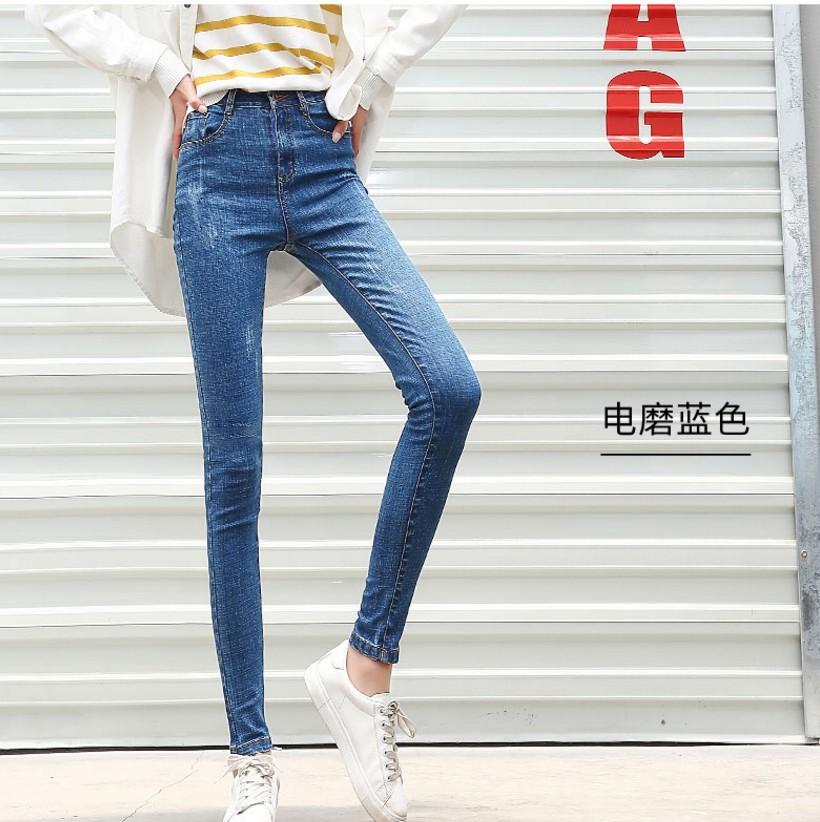 欧美风女士复古高腰显瘦弹力牛仔裤CHIC长裤紧身小脚铅笔裤子AA6A