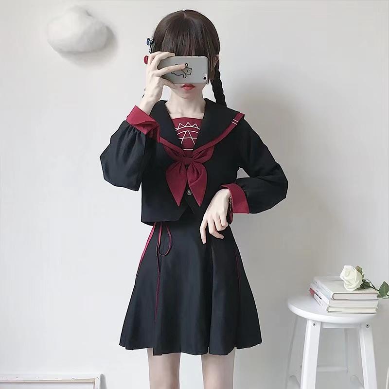 COS动漫魔法阵日系JK制服学生班服cosplay暗黑水手服长短袖套装