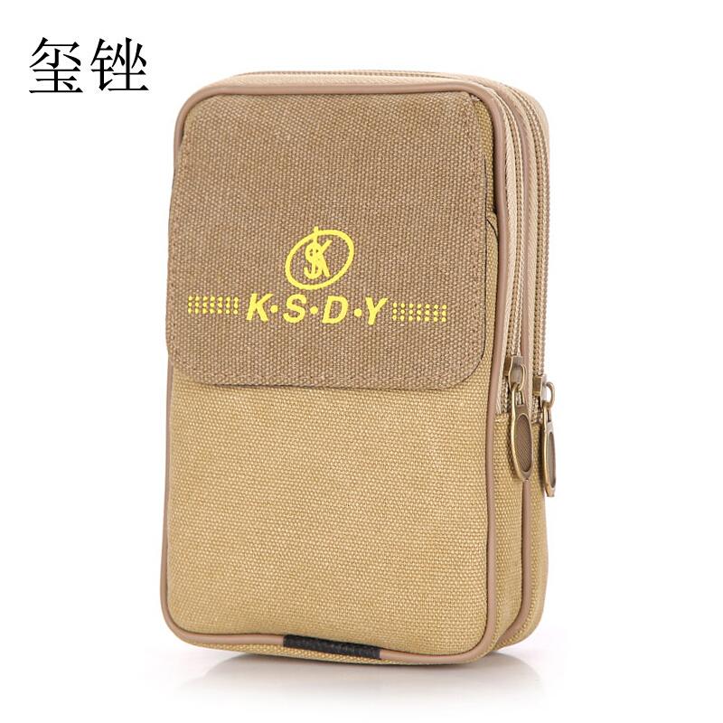 玺锉箱包帆布男士腰包5.5/6寸穿皮带手机包多功能迷你小挂包户外