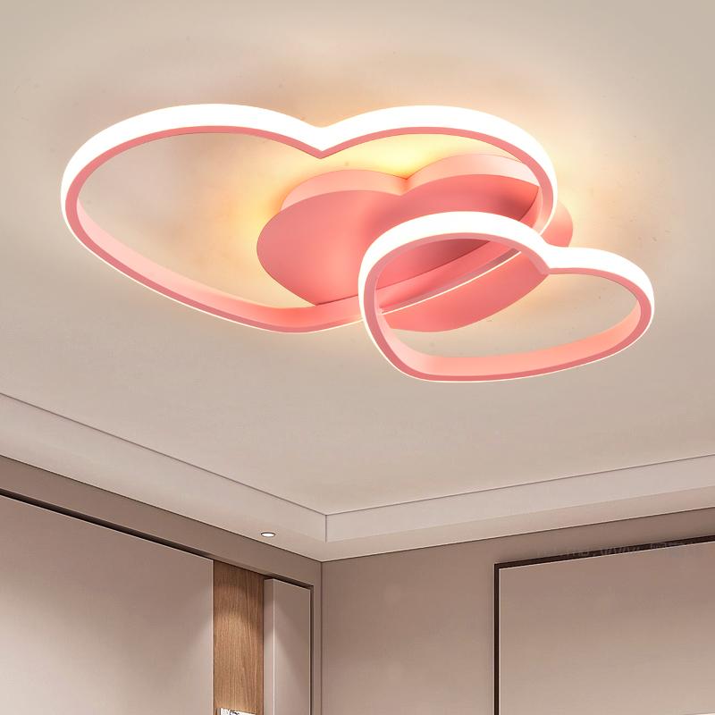 主卧室灯简约现代温馨浪漫爱心形创意ins少女风格儿童房LED吸顶灯