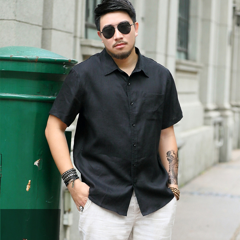 Fattening and enlarging linen fat shirt mens short sleeve loose size casual spring and summer pure color cotton and linen shirt trendy man