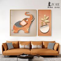 卓益客厅挂画现代简约两联大象沙发背景墙装饰画轻奢风格餐桌挂画